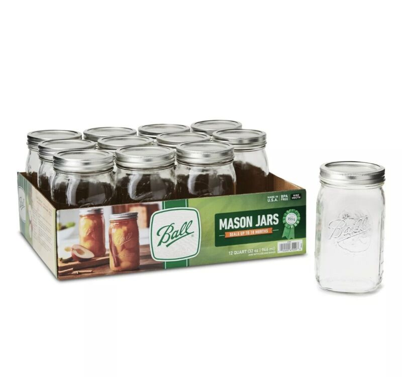 BALL 12pk 32oz Wide Mouth Quart Canning Mason Jars, Lids & Bands Clear Glass