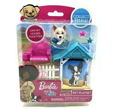 Barbie Pets 6-Piece Playset Corgi Adirondack Chair Beach Hut Fence Starfish