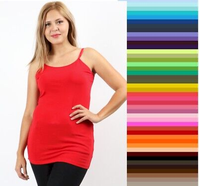 Womens Tank Top Plus Size Cami Long Spaghetti Strap ZENANA DISCONTINUED * 1X-3X](Top Deals)