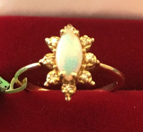 **BRAND NEW** 14K YELLOW GOLD LADIES MARQUISE OPAL W/DIAMONDS COCKTAIL RING