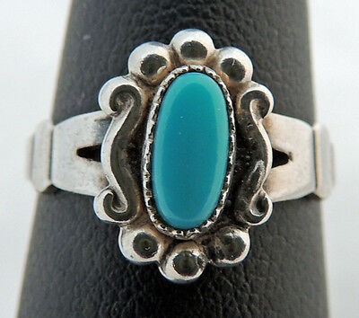 1940s Jewelry Styles and History SWEET VINTAGE ESTATE STERLING SILVER TURQUOISE BELL TRADING Co 1940'S RING 5.25 $95.21 AT vintagedancer.com