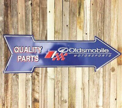 "Oldsmobile Quality Parts 27"" Arrow Metal Tin Sign Large Vintage Garage Man Cave"