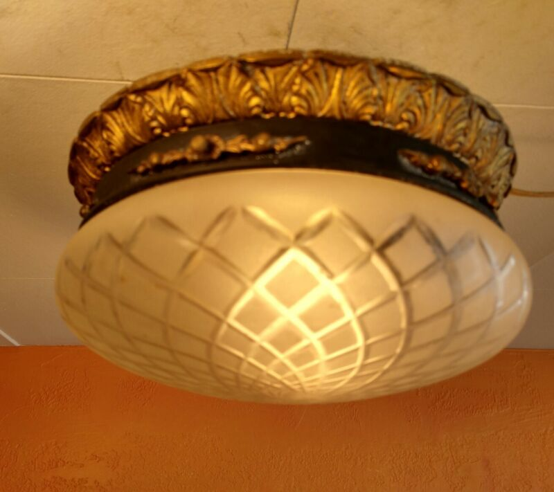Antique Spanish revival Brass & Frosted cut Glass Globe, flush mount hallway