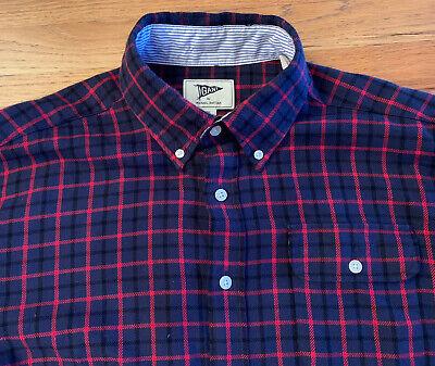 GANT by Michael Bastian Mens Cotton Flannel Button Down Blue Red Shirt XL