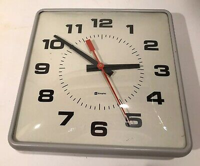 """Vintage SIMPLEX 12"""" School Clock 2310 Dome Glass Face Commercial Wall Hard Wire"""