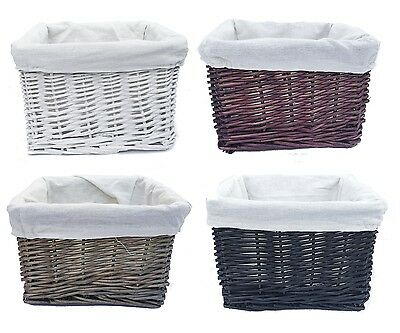 22x22x14.5cm Small Wicker Kitchen Easter Craft Office Storage Basket With Lining (Wicker Easter Baskets With Liner)