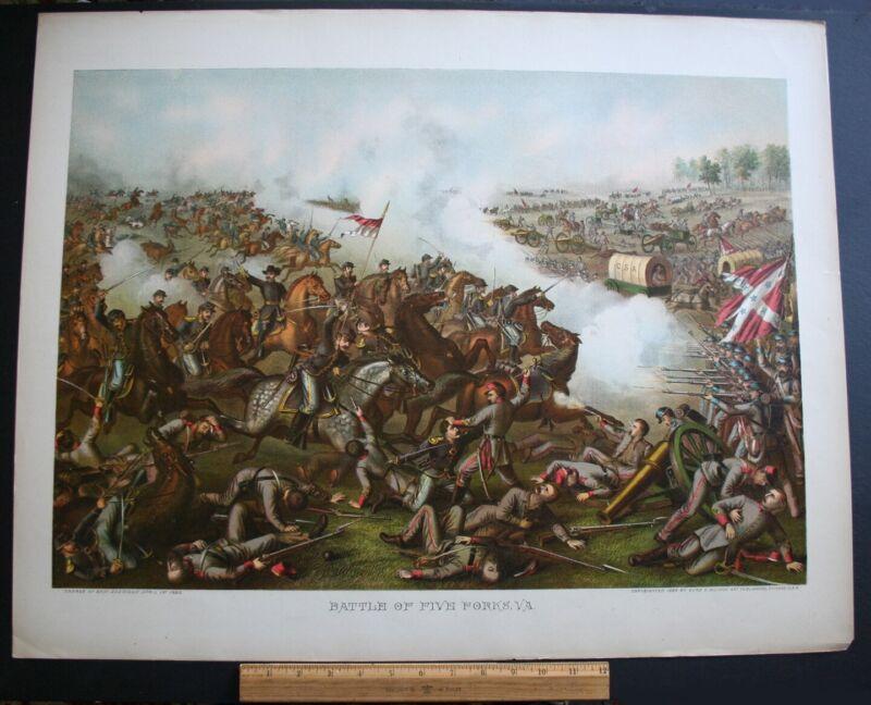"1886 ORIGINAL KURZ & ALLISON CHROMOLITHOGRAPH ""BATTLE OF FIVE FORKS, VA."""