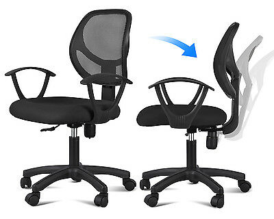 Ergonomic Mesh Computer Office Desk Task Midback Task Chair w/Metal Base Black on Rummage