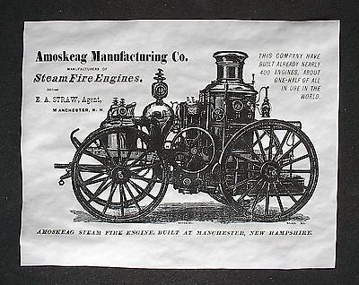 "(889) VINTAGE REPRINT ADVERT AMOSKEAG 1871STEAM FIRE ENGINE MANCHESTER 11""X14"""