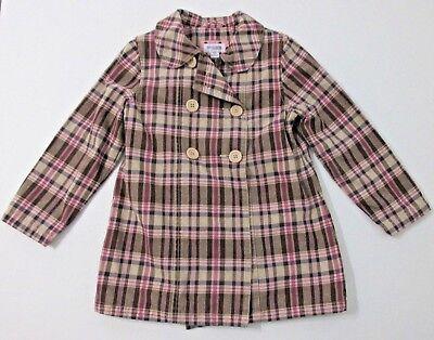 Genuine Kids Coat Girls Size 5T Brown Pink Plaid Cotton Button Up Pea Coat