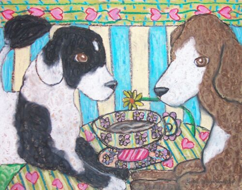 PORTUGUESE WATER DOG Drinking Coffee Collectible Dog Art Print 8x10 by KSAMS PWD