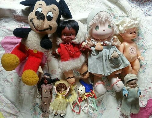 lot 6 Vintage dolls + baby Toy Rattle + Mickey Mouse Precious moments + Inuit