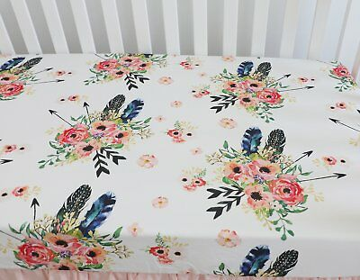 Fits Standard Crib Mattress (Baby Girl Floral Fitted Crib Sheet Toddler Bed Mattresses fits Standard)