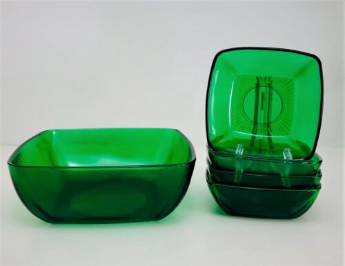 Anchor Hocking Charm Forest Green Salad Set Square 5pc. Berry Bowls