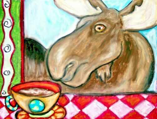 "Moose with Coffee 11"" x 14"" Art Print Wildlife Rustic Wall Decor Signed Artist"