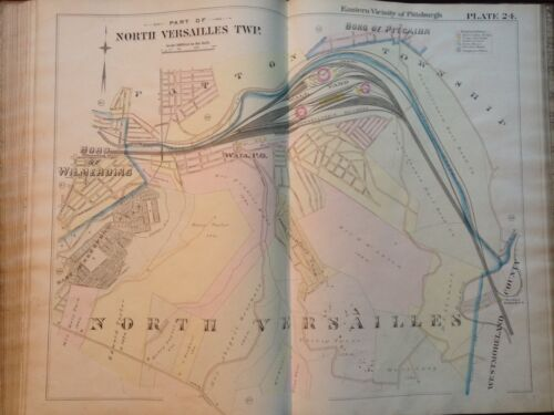 1895 G.M. HOPKINS PITTSBURGH PENNSYLVANIA NORTH VERSAILLES TOWNSHIP ATLAS MAP