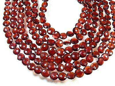 NATURAL MOZAMBIQUE GARNET COIN SHAPE FACETED BRIOLETTE BEADS 6-8 MM. GEMSTONE Garnet Faceted Coin