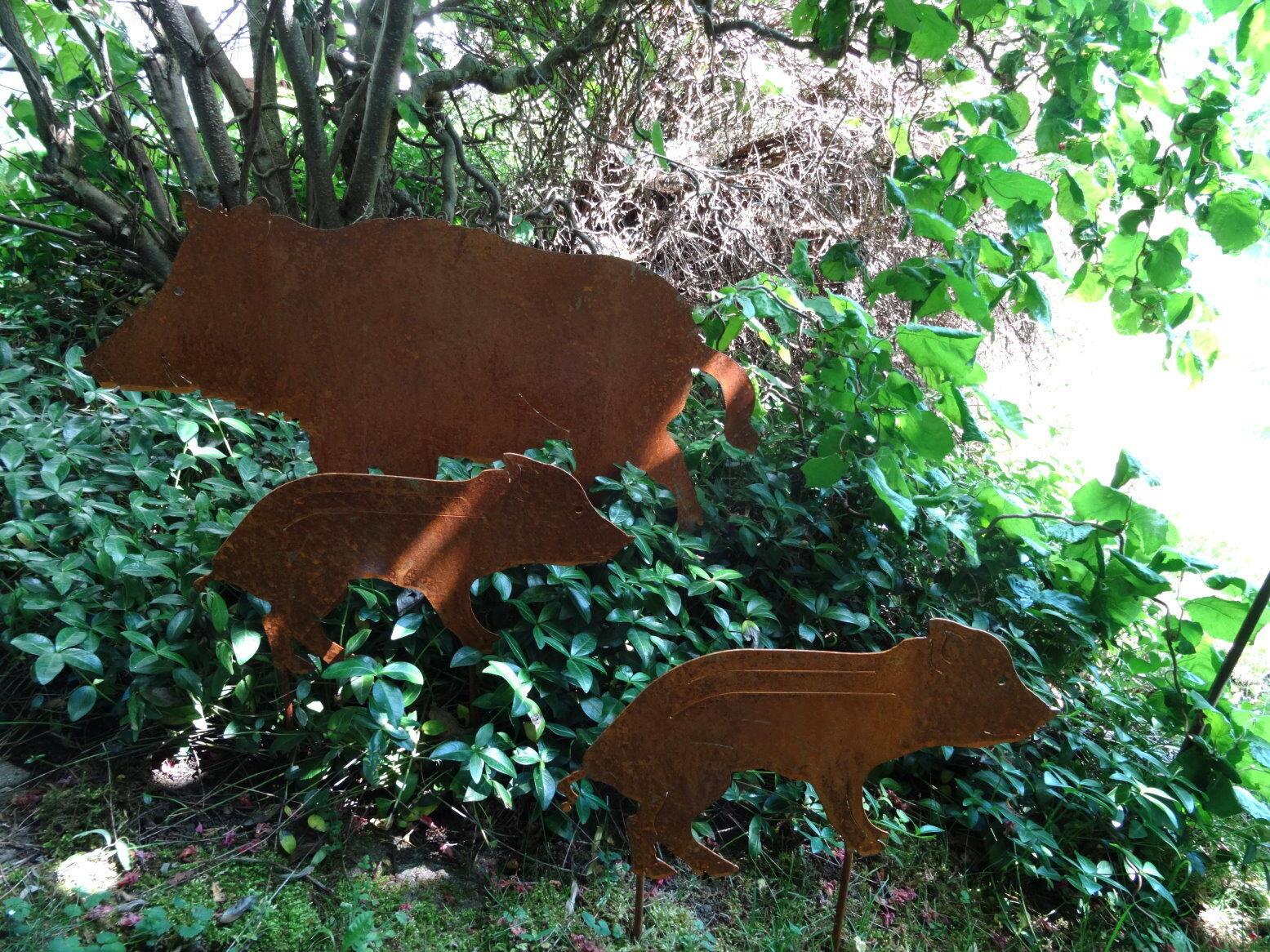 Gartenstecker wildschwein aus metall keiler rost for Tiere aus metall gartendeko