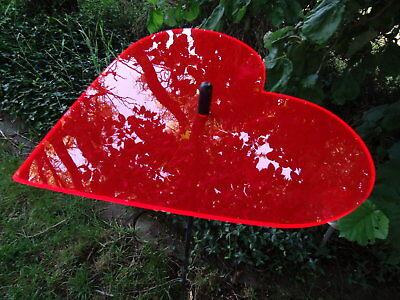 Sonnenfänger Herz rot mit Stab, 100 cm hoch, Gartendeko, Gartenstecker