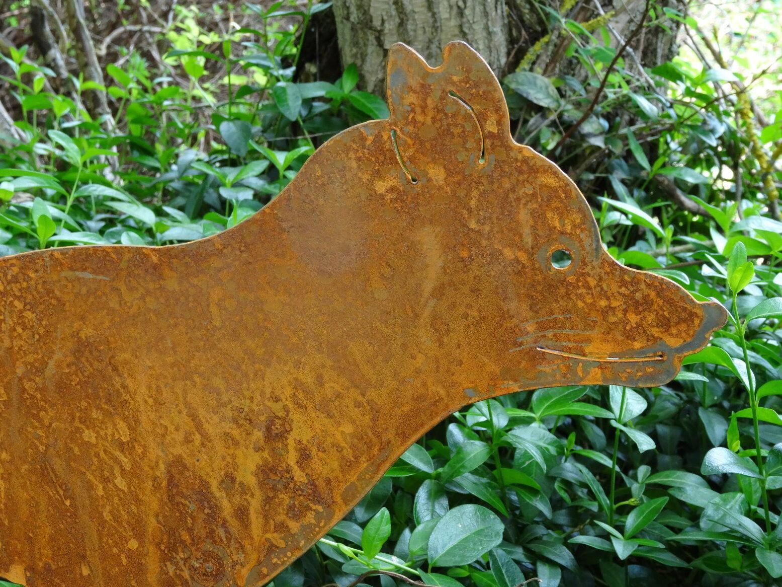 Gartenstecker fuchs aus metall rost edelrost gartendeko for Edelrost gartendeko