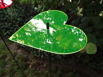 Sonnenfänger Herz grün mit Stab, 100 cm hoch, Gartendeko, Gartenstecker