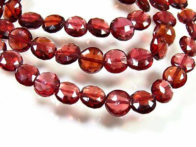 NATURAL MOZAMBIQUE GARNET FACETED COIN SHAPE BEADS GEMSTONE 17