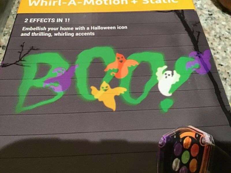 Gemmy Halloween BOO LED Lightshow Projection Whirl a Motion Multi Color Static