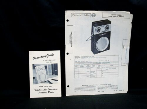 Zenith Royal Deluxe 500 Transistor Radio Users Manual & Service & Parts List