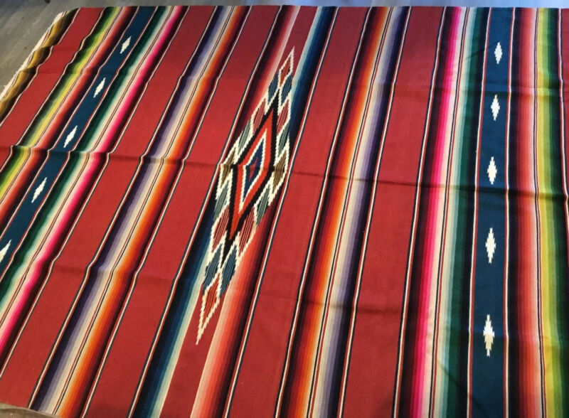 Vintage Mexican Serape Saltillo Blanket, Woven Stripes, Southwest, Vivid, Cotton