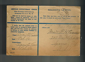 1919 WW 1 USA AEF American Expeditionary Force France Cover to Syracuse NY