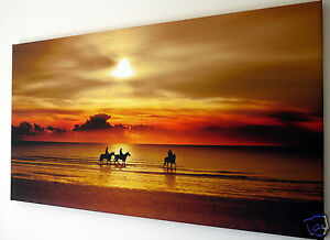 SUNSET  BEACH HORSE SCENE WALL ART CANVAS PICTURE EX LARGE 18
