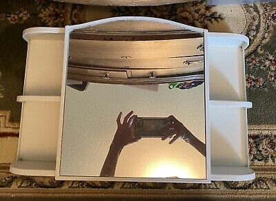 Vintage White Metal Medicine Cabinet with Mirror - 21 1/2 Length/12 1/2 Height