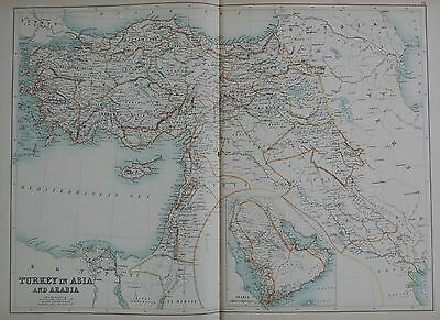 1897 TURKEY IN ASIA AND ARABIA LARGE MAP