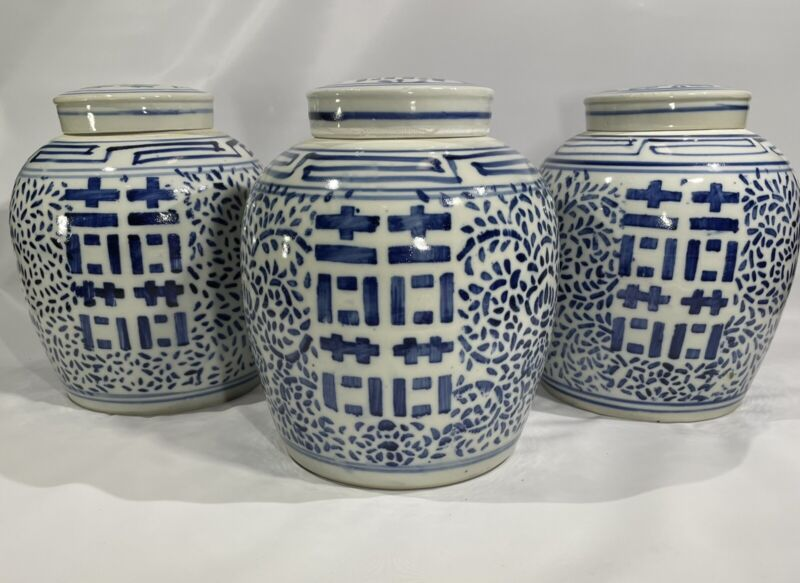 Antique Chinese Blue & White Double Happiness Ginger Jar 19th Century Lot of 3