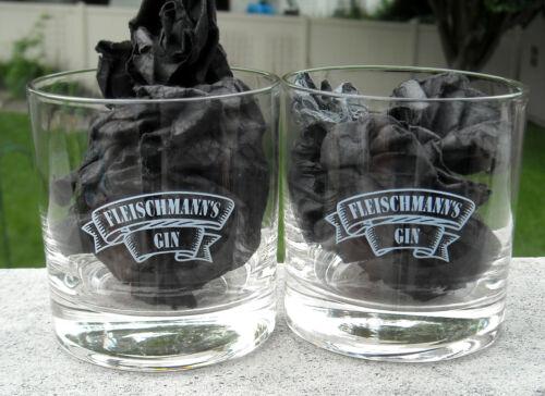 2 Fleischmanns Gin rocks glasses 8 oz etched