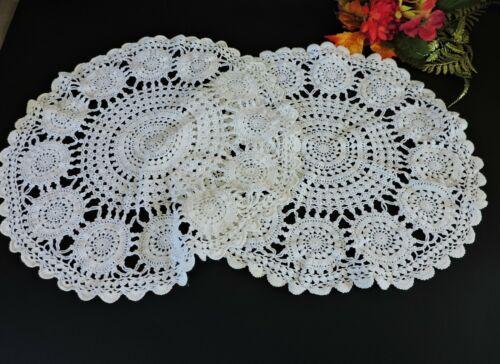 """2 Elegant Vintage 14"""" crochet  doilies  / centerpieces"""