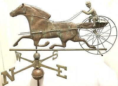 """Antique 32"""" Copper Sulky Jockey Horse Carriage Buggy Weathervane W Directionals"""