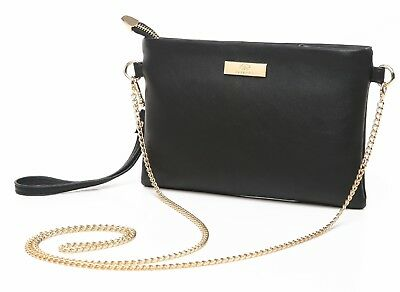 Aitbags Ladies Leather Crossbody Bag With Chain Strap Girls Wristlet Purse Black