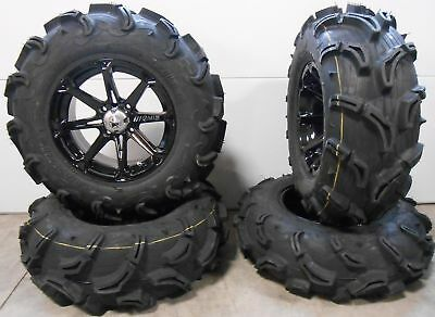 "MSA Black Diesel 14"" UTV Wheels 28"" Zilla Tires Polaris RZR Turbo S / RS1"