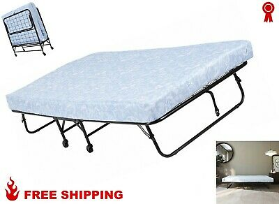 Folding Guest BED Steel Foldable Bed Frame & Portable Mattress Pad Twin Camping Folding Rollaway Bed Frame
