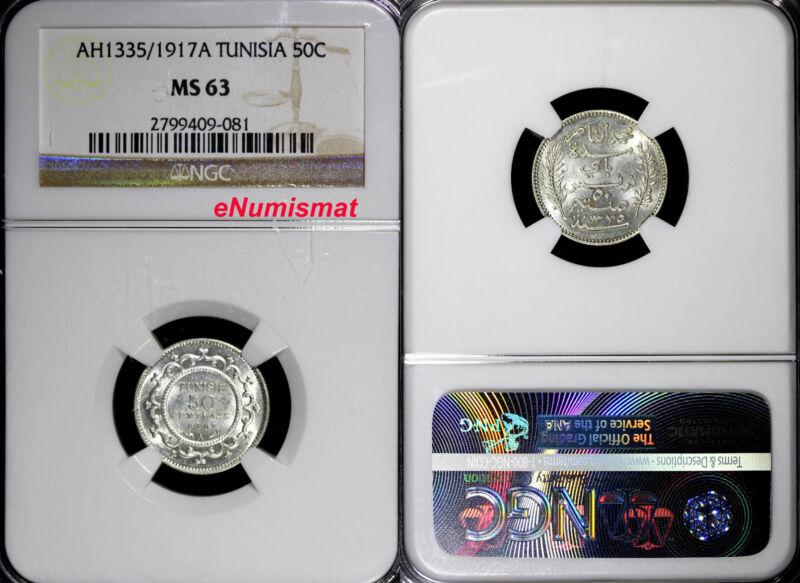Tunisia Muhammad al-Nasir Bey Silver AH1335/1917 A 50 Centimes NGC MS63 KM# 237