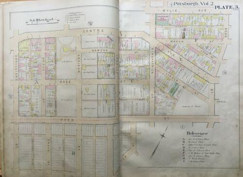 ORIGINAL 1889 CRAWFORD ROBERTS PITTSBURGH PA SOHO ST TO DEVILLIERS ST ATLAS MAP