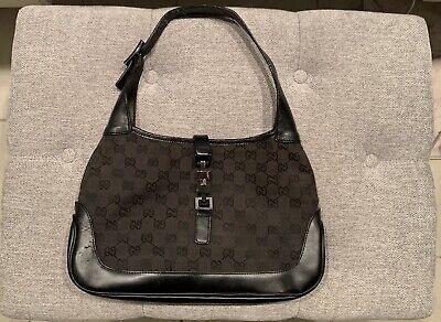 Vintage Gucci Jackie 1961 GG Black Canvas Shoulder Hobo Hand Bag Authentic