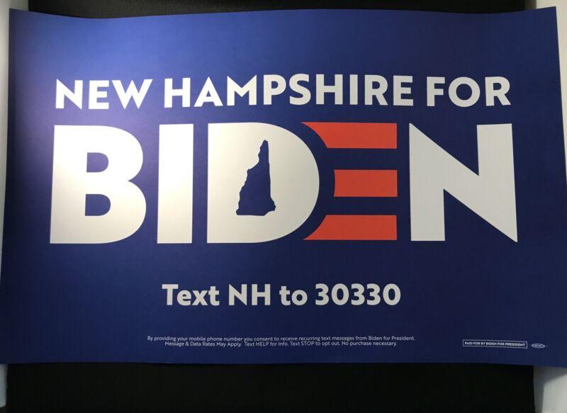 Joe Biden VP Senator 2020 President Campaign Sign Poster Placard New Hampshire