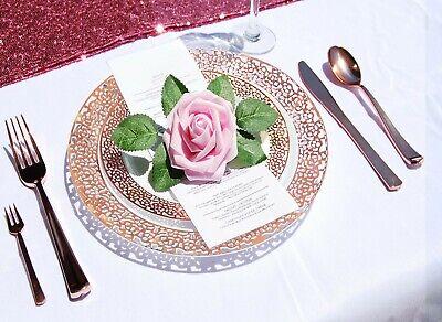 Gold Plastic Silverware (150Pcs Rose Gold Lace Plastic Plates Disposable Silverware Tableware)