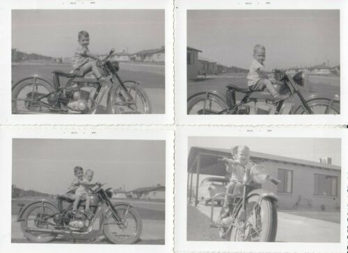 4 LOT VINTAGE  KIDS BOYS ON MOTOR 1957 PHOTO PICTURE  Motorcycle HARLEY DAVIDSON