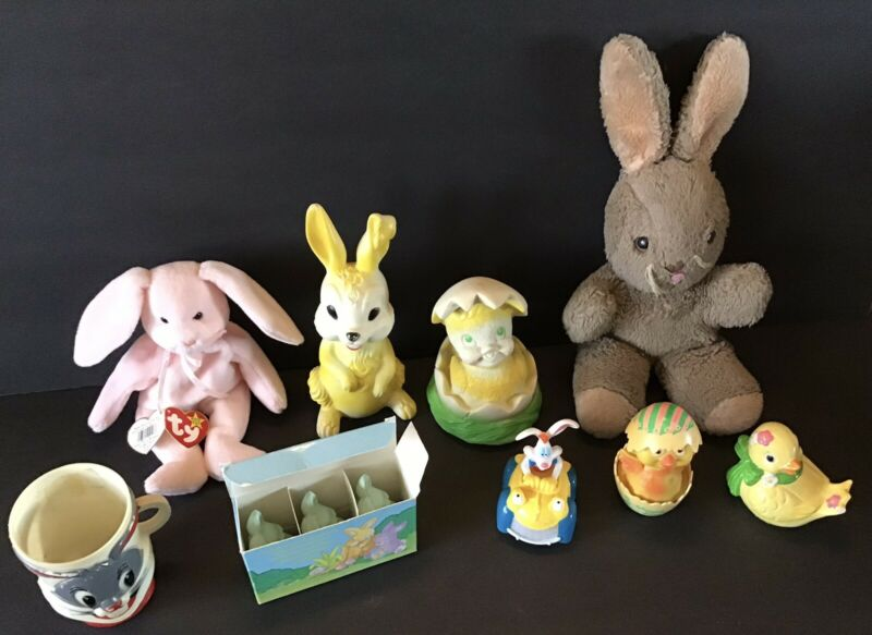 Vintage Lot Of Easter Decor Display TY Bunny Steiff? Holland Hall Plastic Toys