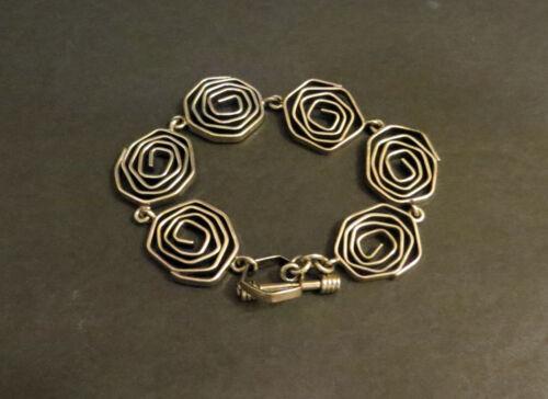Retro Vintage Geometric Square Link Silver Tone Bracelet