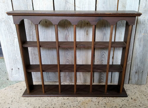 Vintage Mini Colonial Style 3 Tier 18 Compartment Wall Display Knick Knack Shelf