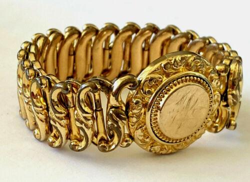 Antique Victorian Minerva Sweetheart Expansion Bracelet Monogram Gold Filled